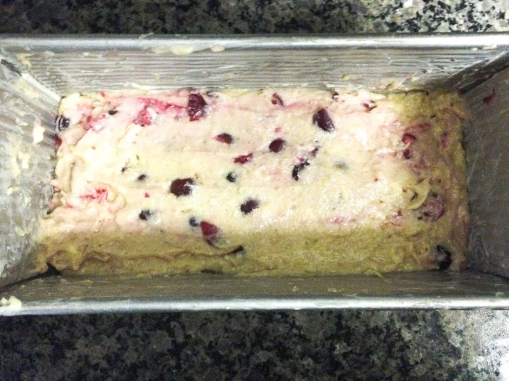 Citrus Cranberry Loaf Cake... ready for the oven