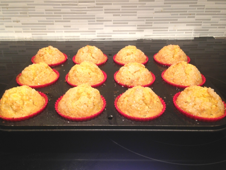 Orange Kissed Corn Muffins in the pan.