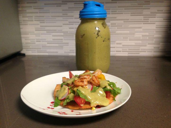 Shrimp tostada and avocado-lime dressing